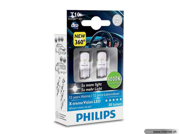 Set of 2 Philips 127994000KX2 X-tremeVision LED W5W T10 4000K CeraLight