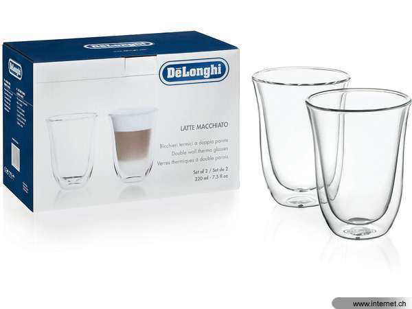 delonghi latte macchiato 220 ml 2 st ck tassen typ latte macchiato farbe transparent. Black Bedroom Furniture Sets. Home Design Ideas